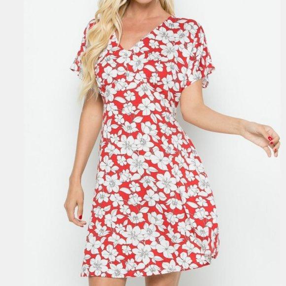 Be Stage Dresses & Skirts - Floral V neck Dress
